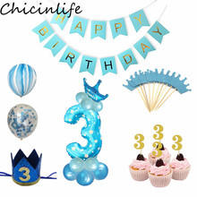 Chicinlife 3th Birthday Party Decoration Blue Pink 3 Number Balloon Cupcake Topper Boy Girl Year