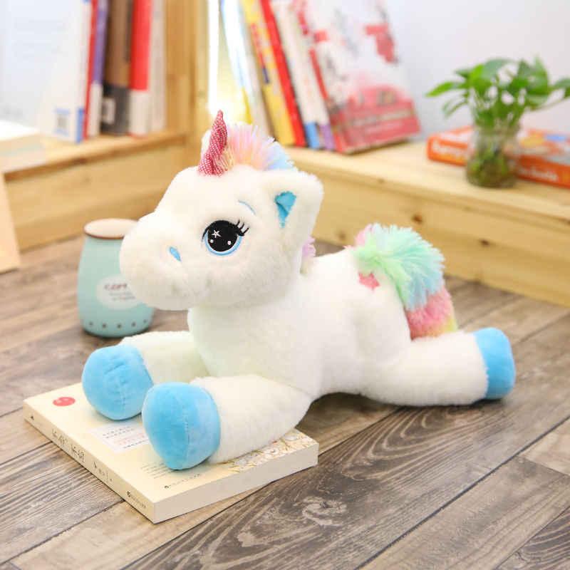 40/60cm pelúcia bonito dos desenhos animados unicórnio pelúcia travesseiro recheado brinquedo boneca para o presente das crianças
