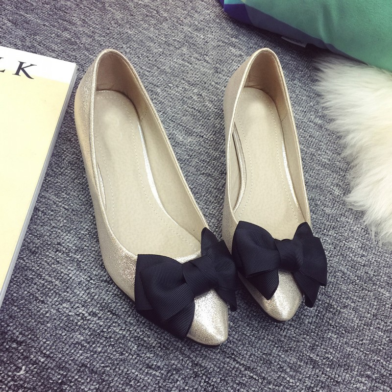 Retro Spring Autumn Women's Pumps Shoes Bowtie Pointed Toe Shallow Mouth Slip-On Ladies Low Heel Plus Size Single Shoes fashion women pointed toe flats shoes spring autumn rivets bowtie shallow slip on woman ballet flats ladies single shoes pink