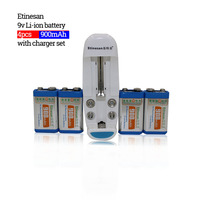 Etinesan 4pcs 900MAH lithium 9V 8.4v rechargeable battery+ charger game machine, computer, horn, fan, earphone, telephone toy