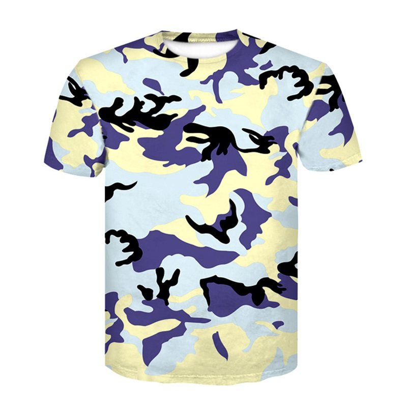 2018 new camouflage summer print tight T-shirt 3D digital print camouflage Tops clothes