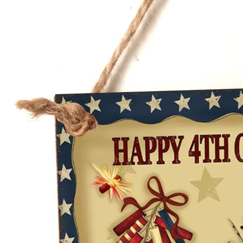 Image 5 - Rustic Wooden Happy Happy 4th Of July Sign Plaque Independence Day Room Home Decor Collection Gift-in Plaques & Signs from Home & Garden