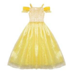 Image 2 - Muababy Zomer Meisjes Belle Jurk Up Kids Ruches Schoonheid En Het Beest Prinses Kostuum Kinderen Party Fantasy Kleding