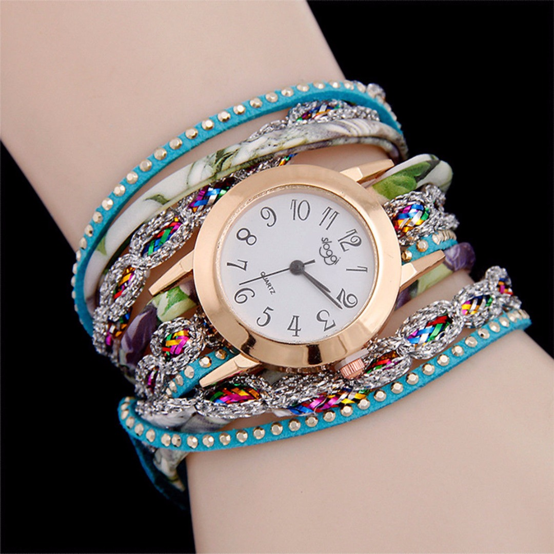 6 Colors Fashion Colorful Weave Leather Watch Wrap Wristwatch Analog Quartz Bracelet Watches Women Ladies Gift Relojes Mujer image
