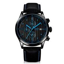 2016 Luxury Brand Мужчины Спортивные Часы Кварцевые Наручные Часы Кожаный ремешок Водонепроницаемые Наручные часы моды часы мужчины Часы