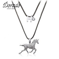 New Arrival Brand Crystal Zirconia Stone Amusing Donkey Pendant Necklace Cute Animals Jewelry For Women