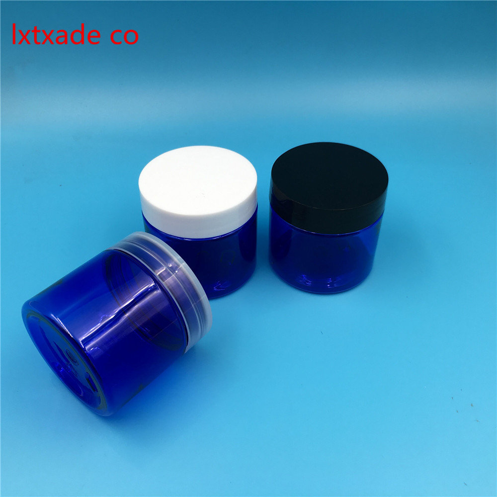 Free Shipping 50g/ml Royalblue Blue Plastic Bottle jar Originales Refillable Cosmetic Cream jars 50ml Empty Cosmetic Containers