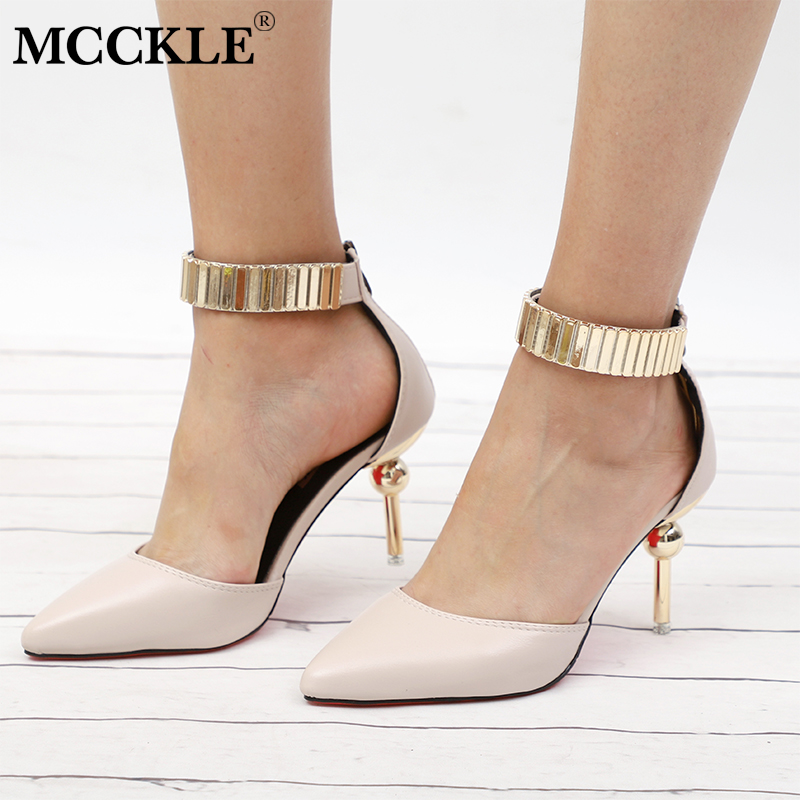 купить MCCKLE Autumn Women High Heels Bling Metal Female Party Wedding Pumps Elegant Thin Heel Shoes For Ladies Fashion Footwear по цене 1271.73 рублей