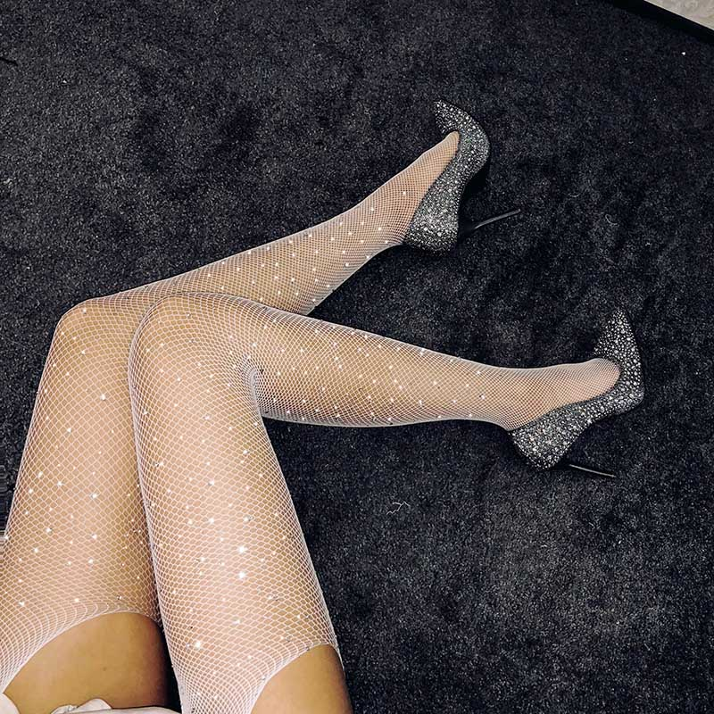 Women Hollow Lace Mesh Stockings Sexy Crystal Fishnet Pantyhose Open Crotch Hosiery AIC88