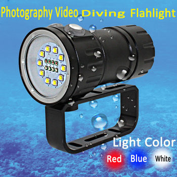 Underwater 18 LED Photography Video Diving Flashlight 10x XM-L2 white +4x XPE Red +4x XPE Blue waterproof torch Tactical Lamp
