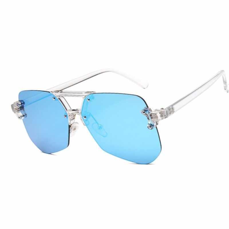 Ponadgabarytowe przezroczyste okulary przeciwsłoneczne cat eye damskie marka projektant Rimless kwadratowa ramka jasne okulary przeciwsłoneczne Lady shades modne okulary