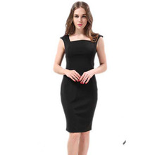 Plus Size Women Dress 2016 Summer Style 4XL Work Dress Solid Color Square Collar Pencil Dress Sleeveless Vestidos Good Quality