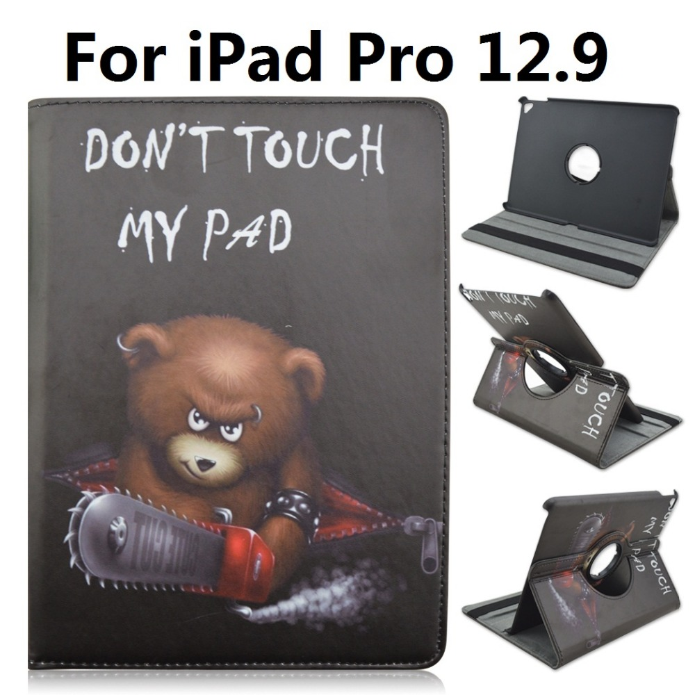 Bear Dont Touch My Pad Pattern 360 Degree Rotating Stand Cartoon Leather Case for iPad Pro 12.9