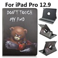 Bear Don't Touch My Pad Pattern 360 Degree Rotating Stand Cartoon Leather Case for iPad Pro 12.9
