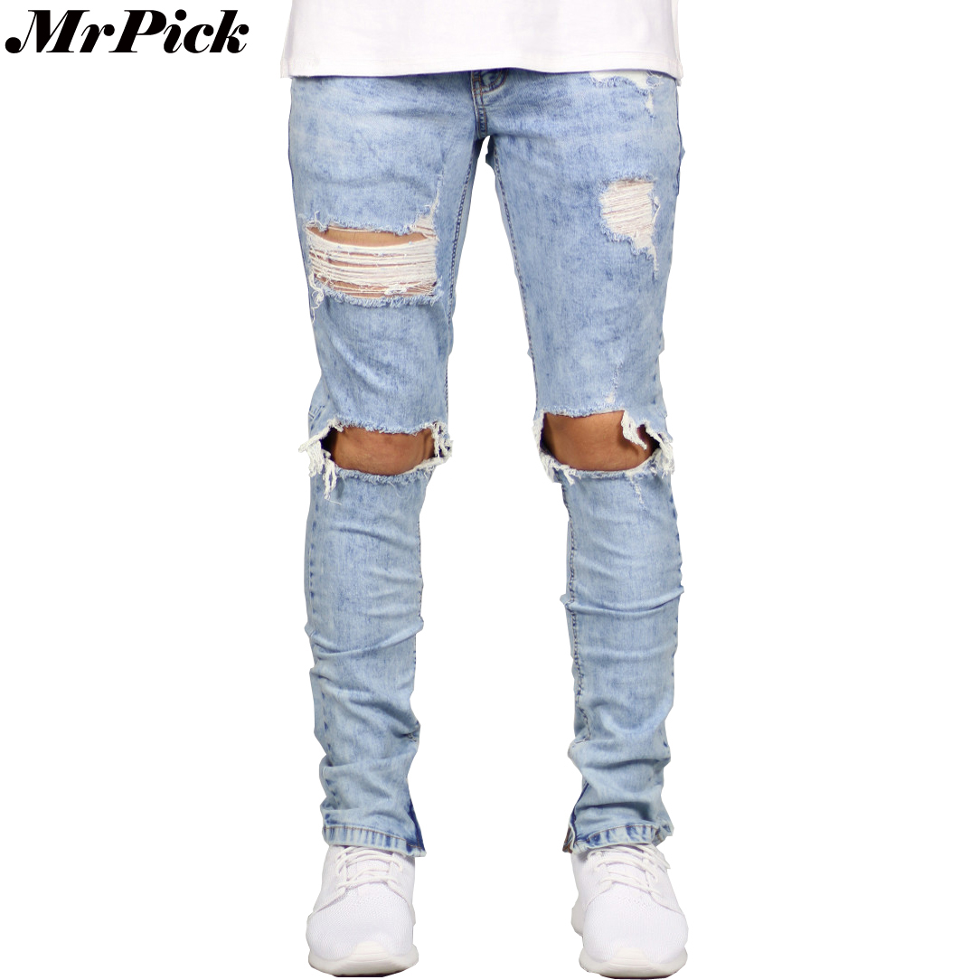 2017 Side lynlås Stretch Mænd Skinny Jeans Fashion Casual Hip Hop Hole Ripped Distressed Destroyed Jeans T0283