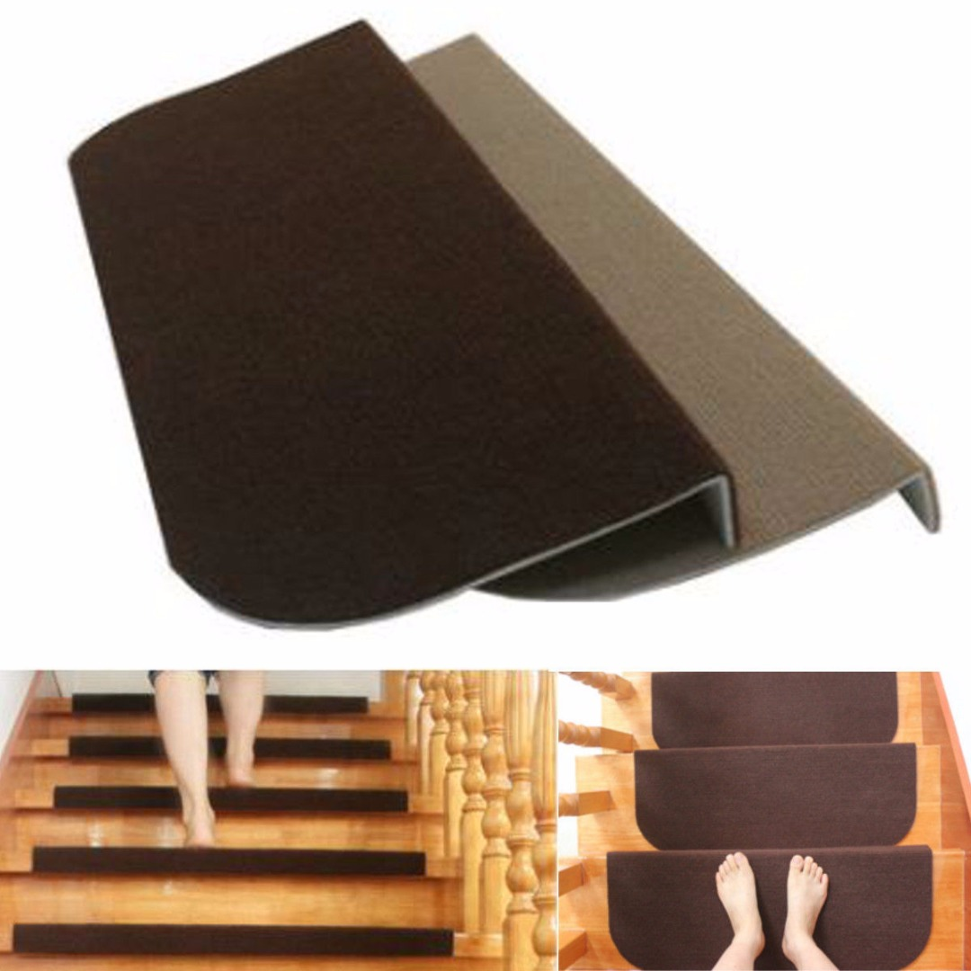 Non-slip Adhesive Carpet Stair Treads Mats Staircase Step Rug Stair Protection Cover Home Decor Accessory