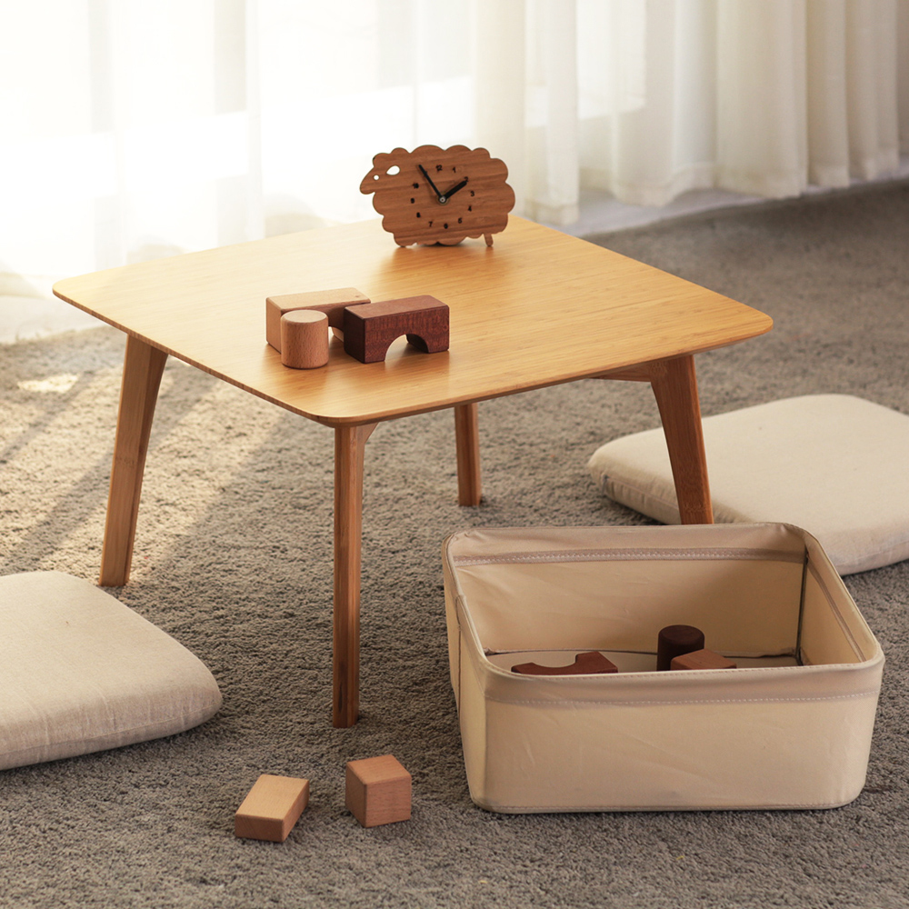 Superbe ZENu0027S BAMBOO Coffee Table With 2 Cushion And A Storage Basket Japanese Small  Table