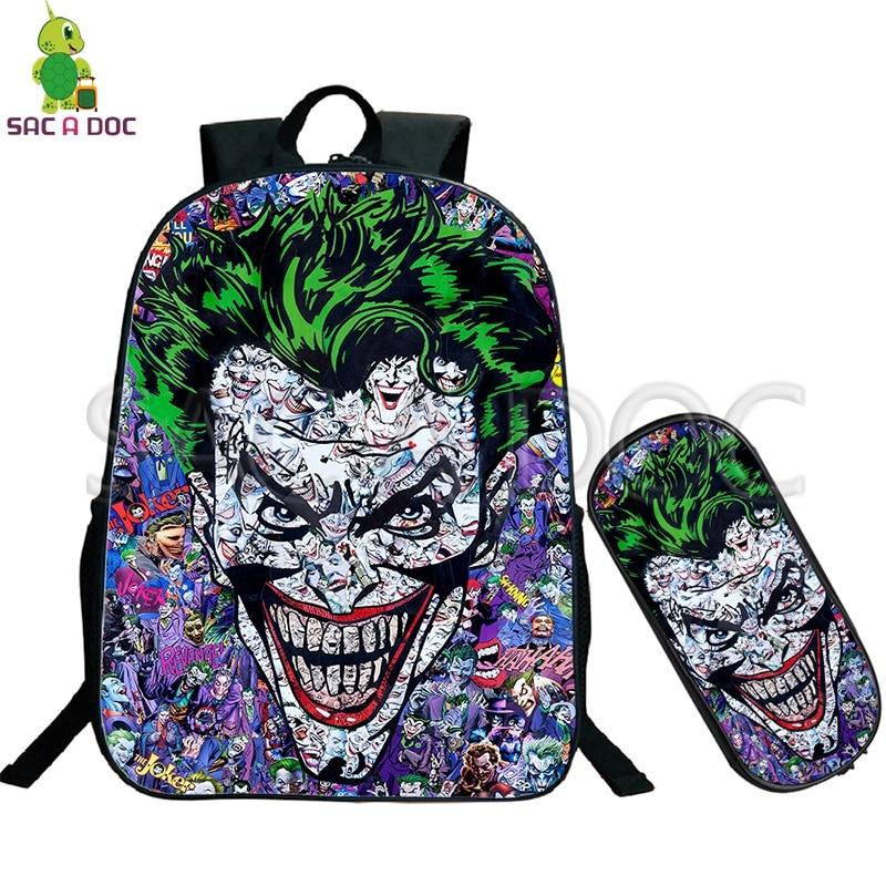 Crazy Joker Batman Collages School Bag 2 Pcs/set Backpack for Teenage Boys Girls Travel Shoulder Bags Kids Book Bag