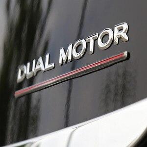 Image 4 - Per Tesla Modello 3 Doppio Motore Decalcomanie 3D ABS Auto Posteriore Tronco Emblema Adesivo Distintivo