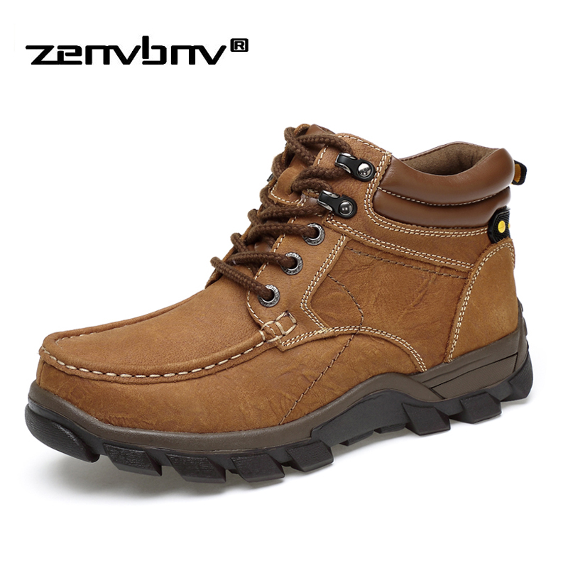 Plus Size 38-47 Keep Warm Winter Men Boots With Fur Genuine Leather Boots Men Work Shoes Men Military Ankle Boots Zapatos Hombre winter martin military boots men shoes leather men boots brand fur boots for men autumn winter shoes zapatos hombre size 38 48