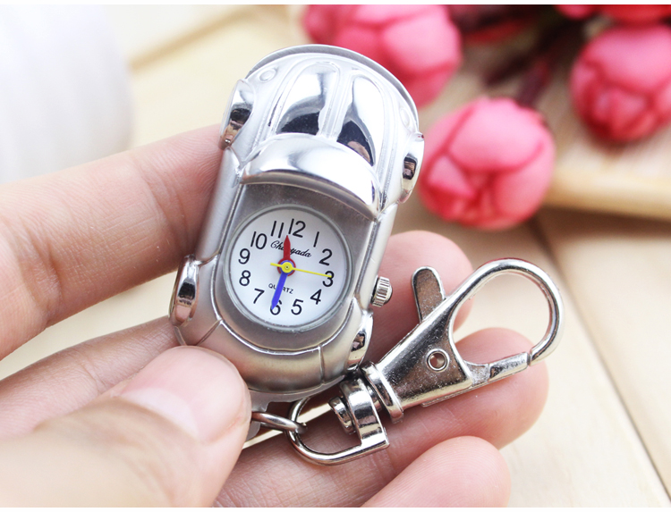 Silver Mustang Pattern Car Quartz Pocket Watch With Key Chain Male Female Clock Reloj De Bolsillo