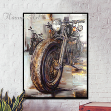 Hand painted oil painting Motorcycle Industrial style Harley Motorcycle manual Nostalgic style corridor decorative painting