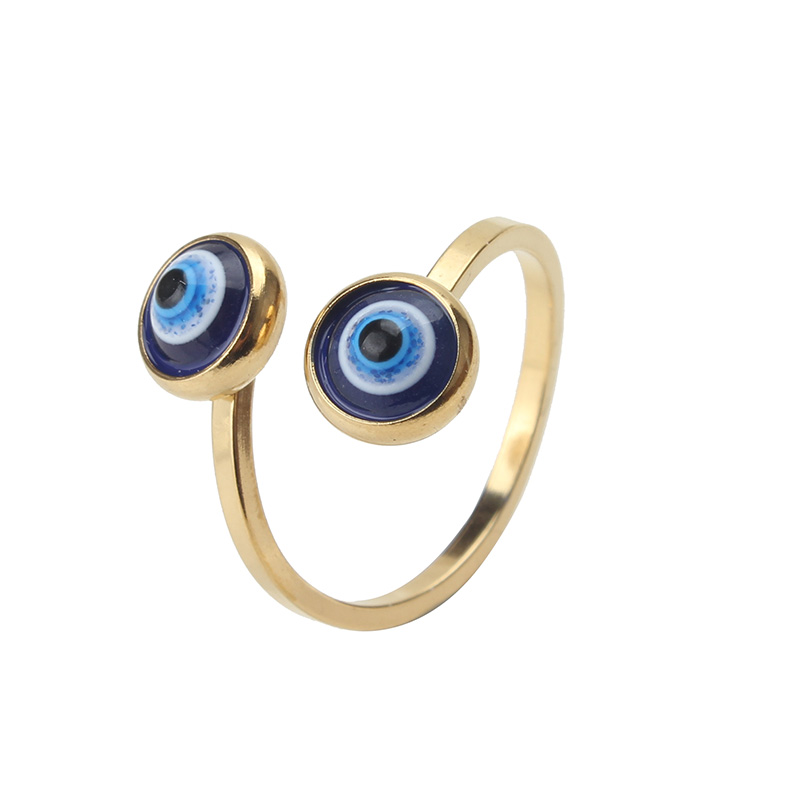 1pc Evil Eye Ring Women Girls Jewelry Crystal Gold Silver Color Opening Ring Adjustable Alloy Jewelry Luxury