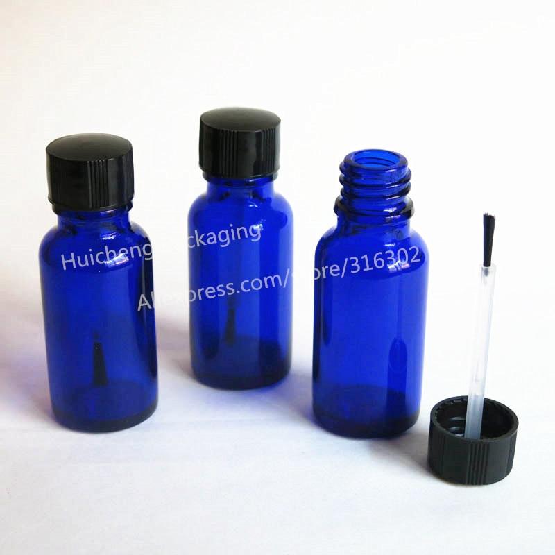 200/lot 20ml Blue Glass Essential Bottle With Brush Cap, 20cc Nail Polish Bottle,2/3oz Glass Nail</fon