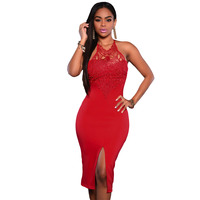 Black Red Blue Lace O Neck Knee Length Lace Dress Sleeveless Elegant Bodycon Dress For Party