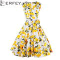 As mulheres Se Vestem Retro Vintage 50 s 60 s Rockabilly Balanço Floral Verão Vestidos Plissados Elegante Bow-knot Túnica Vestidos