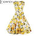 Vestido de las mujeres Retro Vintage 50 s 60 s Rockabilly Columpio de Flores de Verano vestido Plisado Elegante Túnica Vestidos Bow-knot