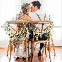 Ghế đám cưới Dấu Hiệu cho Cô Dâu và Chú Rể Cưới Ghế Thư Pháp Bằng Gỗ Treo Dấu Hiệu Trang Trí Đám Cưới Đặt