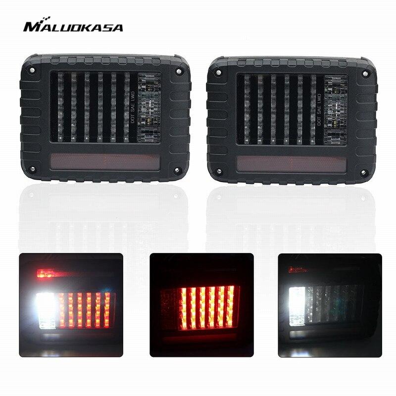 MALUOKASA 2PCs LED SUV Stop Light Tail Brake Lamp For Jeep JK Wrangler 07-2017 Auto Reserve Light Turn Signals US Plug DRL LEDs 6 x 8 flat mount led tail light plug play replacement for jeep wrangler jk
