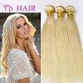 613 brasileira loira virgem cabelo liso 3 Pcs cabelo humano tecer loira platina trama do cabelo loiro brasileiro Staright