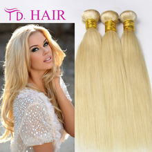 613 Brazilian Blonde Virgin Hair straight  3Pcs Human Hair Weave  Blonde Platinum Blonde Hair Weft Brazilian Staright