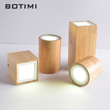 BOTIMI Modern LED Ceiling Lights For Corridor Small Round Wooden Lamp 220V Square Cuboid Wood Foyer Lightings