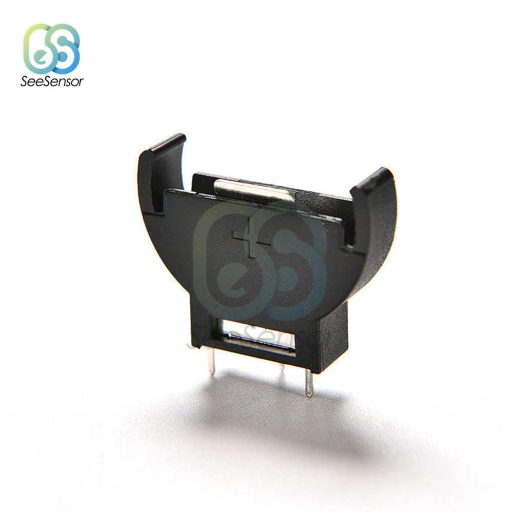 10Pcs พลาสติกสีดำ CR2032 2032 3V แบตเตอรี่ซ็อกเก็ตครึ่งรอบกล่องใส่ 3 Pin
