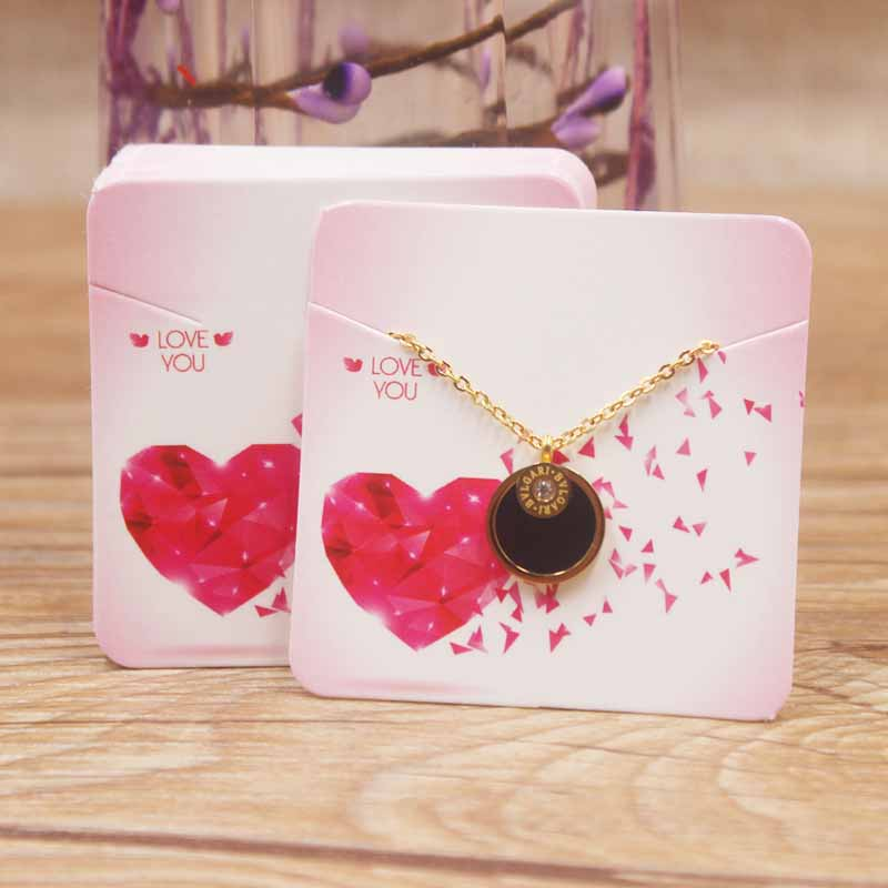 24designs 5*5cm  Fashion Jewelry Display Necklace Charms Package Card 50pc Romantic Heart Valentine's Day Gifts Package Card