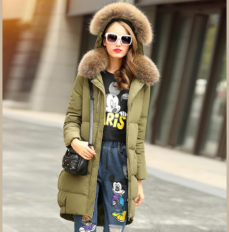 ФОТО 2017 newest brand Europe and America style women long winter thick down jacket, long real double raccoon fur collar coat F3822
