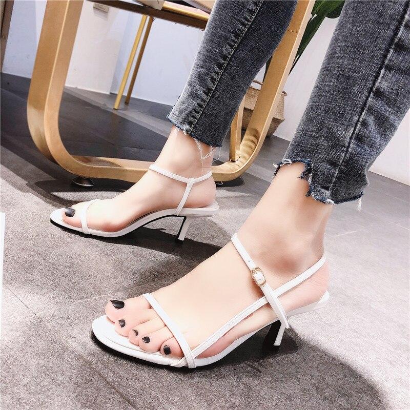 Women Sandals Summer High Heels 2019 New Women Shoes Open Toe Female Shoes Buckle Women Sandals Casual Fine Heel Footwear