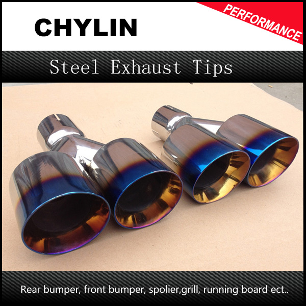 Top Quality 1Pair 63mm-89mm Blue End 304 Stainless Steel Racing Dual Tip Exhaust Muffler Tip