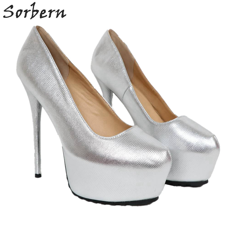 Bomba Plataforma Tacones 2019 Custom Zapatos Gran Llegadas Sexy Color Tamaño De Zapato 11 Vestido Sorbern Slip Plata Nuevas plata Mujeres Aguja Alta nwOXnqYa