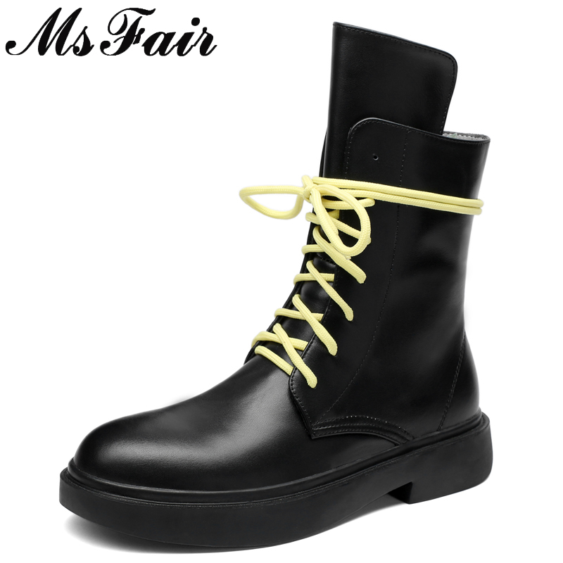 MSFAIR Round Toe Thick Bottom Women Boots Fashion Lace Up Genuine Leather Ankle Boots Women Shoes Black Boots Shoes Woman 2018 2017 new heavy bottomed genuine leather women boots black brown solid boots women shoes thick with round lace ankle boots zk2 5
