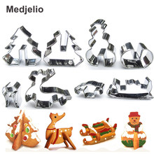 Medjelio Christmas Cookie Cutter Snowman Mold Stainless Steel Elk Sled Fondant Biscuit Pastry DIY Cakes Bread Baking Tools(China)