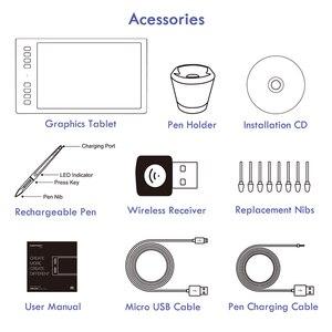 Image 5 - هويون إلهام روي Q11K اللاسلكية الرقمية لويحة الرسم البياني القلم اللوحة أقراص مع 8192 مستويات 8 مفاتيح صريحة و حامل قلم