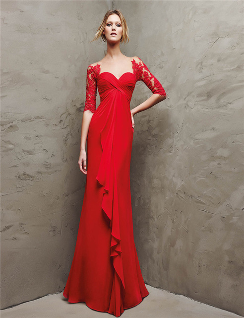Red Chiffon Mother S Dressses Lace Liques Bride Dress High Quality Half Sleeves