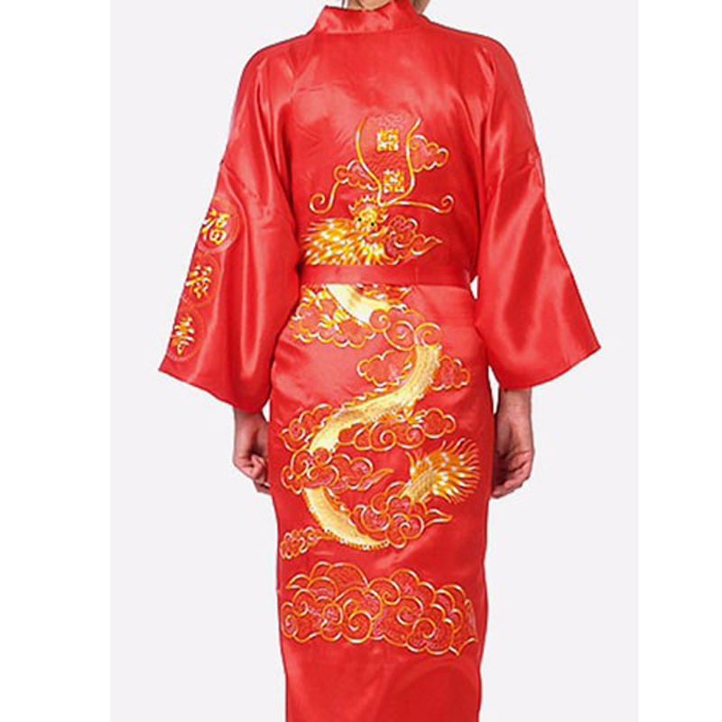 6f192ebd27 Brand New Red Traditional Chinese Men s Sleepwear Satin Silk Embroider  Dragon Robe Kimono Bath Gown Plus Size S To XXXL 011020