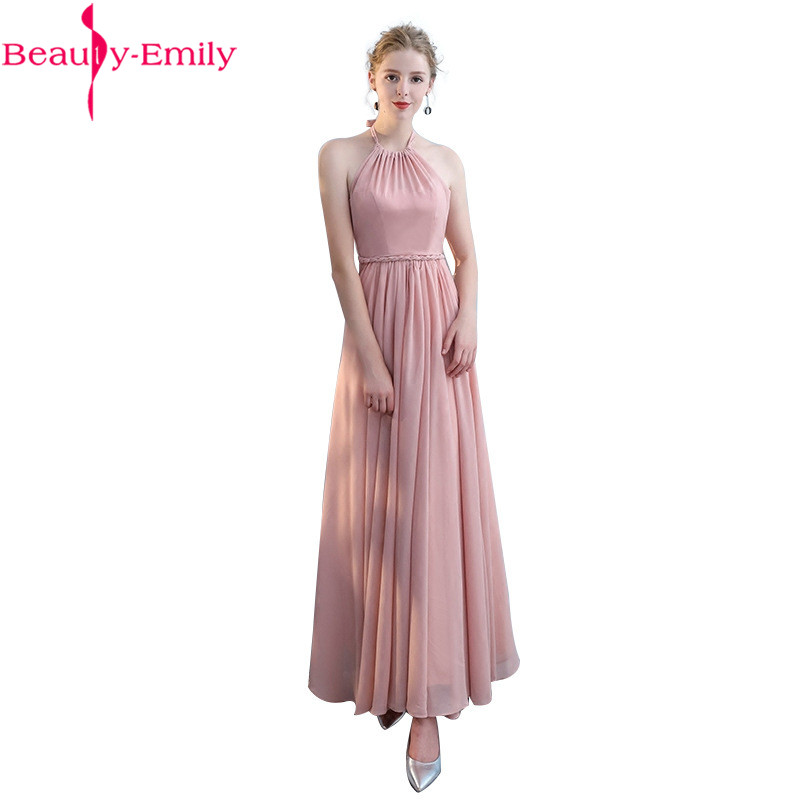 Charming Pink Halter Neck   Bridesmaid     Dresses   2019 Elegant Cheap Chiffon Party Gowns 6 Styles Formal Party   Dresses   for Wedding