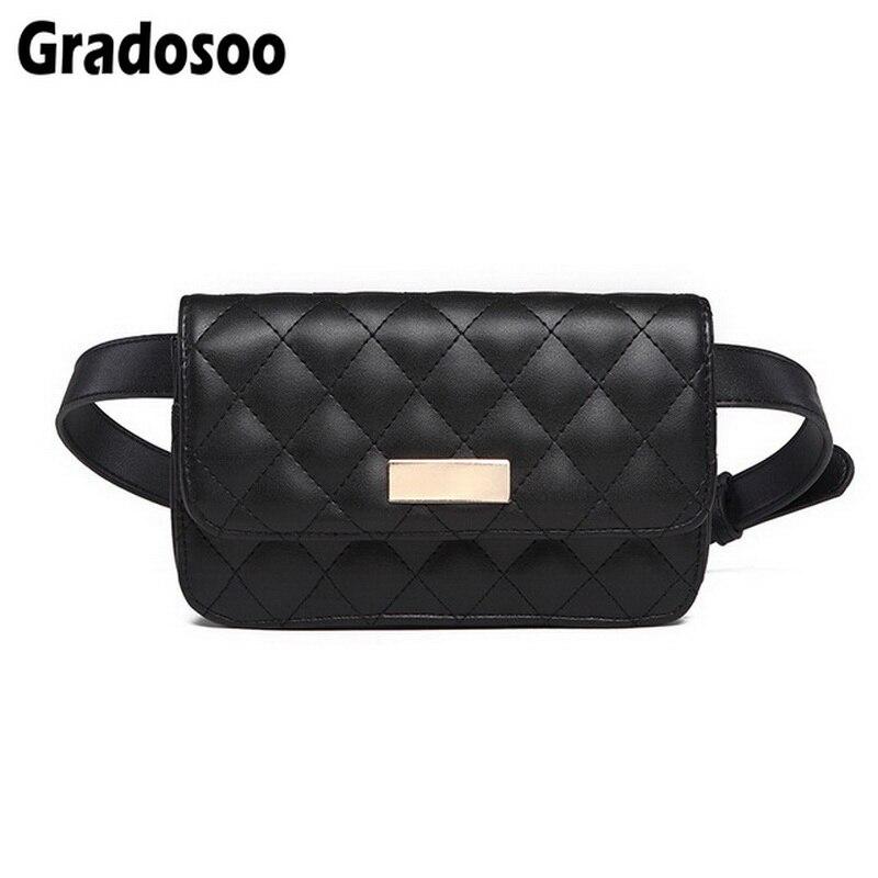 Gradosoo Quilted Belt Bag PU Leather Waist Bags Women Fanny Pack Brand Waist Pack Black Fanny Bag Mini Pouch Phone Bag A029