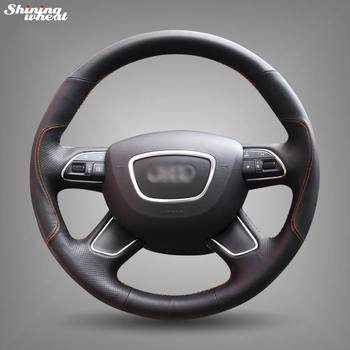 Hand Sew Black Genuine Leather Steering Wheel Cover for Audi A3 (8V) A8 (D4) Q3 Q5 A4 (B8) A6 (C7) Q7